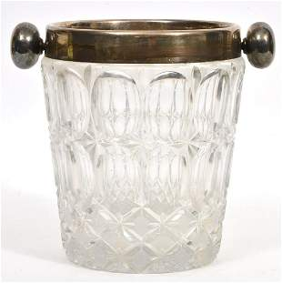 Cut Crystal Ice Bucket With Silver-Plate Rim