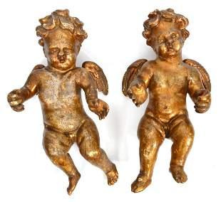 Pr. Vintage Italian Hand Carved Gilt Cherubs