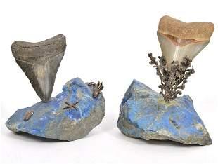 2 Lapis Lazuli Shark Tooth Sculptures