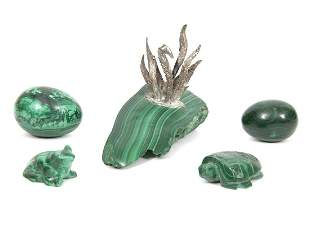 Grouping of 5 Pieces of Malachite