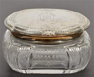 Sterling Silver Lidded Brilliant Cut Crystal Jar