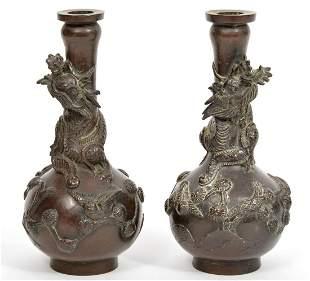 Pair of Japanese Bronze Dragon Vases