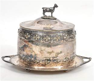 Continental Silverplate Goat Finial Biscuit Box