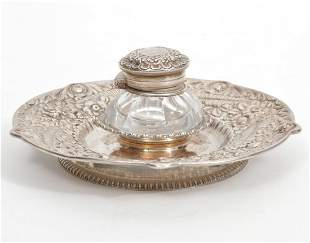 Continental Sterling Inkwell Repousse