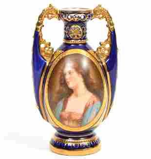 Royal Vienna Cobalt Gilt Portrait Porcelain Urn