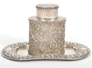 English Repousse Sterling Tea Caddy & Plate