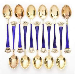 11 Denmark Sterling Sorenco Cobalt Enamel Spoons