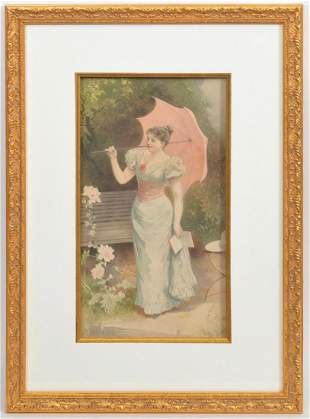 J.R. Wehle Victorian Watercolor Gouche on Paper