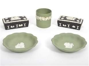 5 Pcs. Black & Sage Wedgwood Jasperware