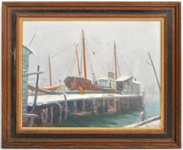 New England School Impressionist Oil on Canvas