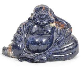 Carved Lapis Chinese Buddha
