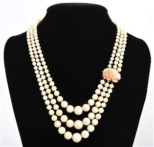 Triple Strand Graduated Coral Bead Necklace