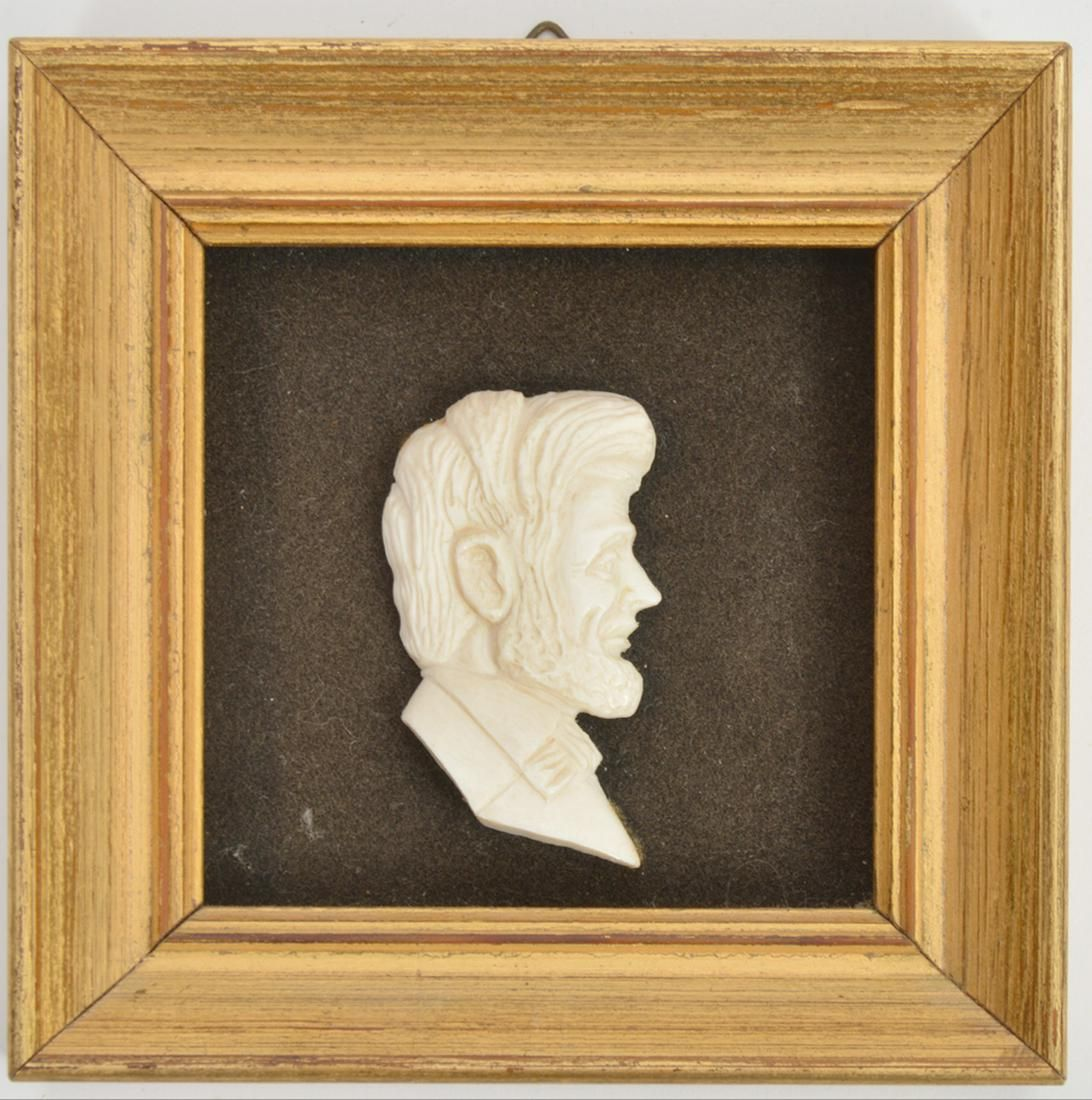 Hand-Carved Bone Profile of Abraham Lincoln Framed