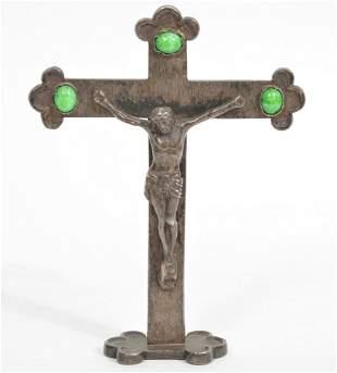 Standing Metal Botonee Crucifix With Jade