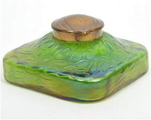 Attributed to Loetz Iridescent Art Glass Inkwell