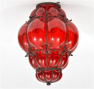 Moroccan Style Vintage Ruby Glass Pendant Lamp