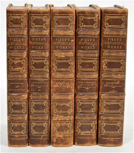 Fiske's Historical Works Set of 5 Books 1892