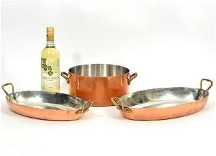 3 Large Copper Cookware Pans