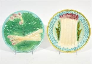 2 Majolica Glazed Jewel Toned Pottery Plates