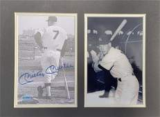 Signed and Certified Mickey Mantle Matted Photos