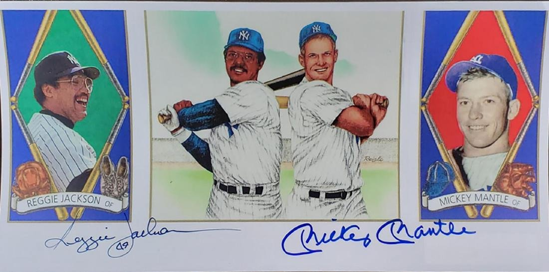 Reggie Jackson and Mickey Mantle Double Signed Photo