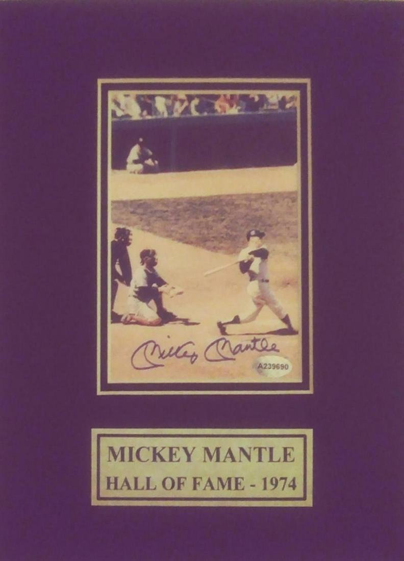 Mickey Mantle Certified Autograph Matted Photo