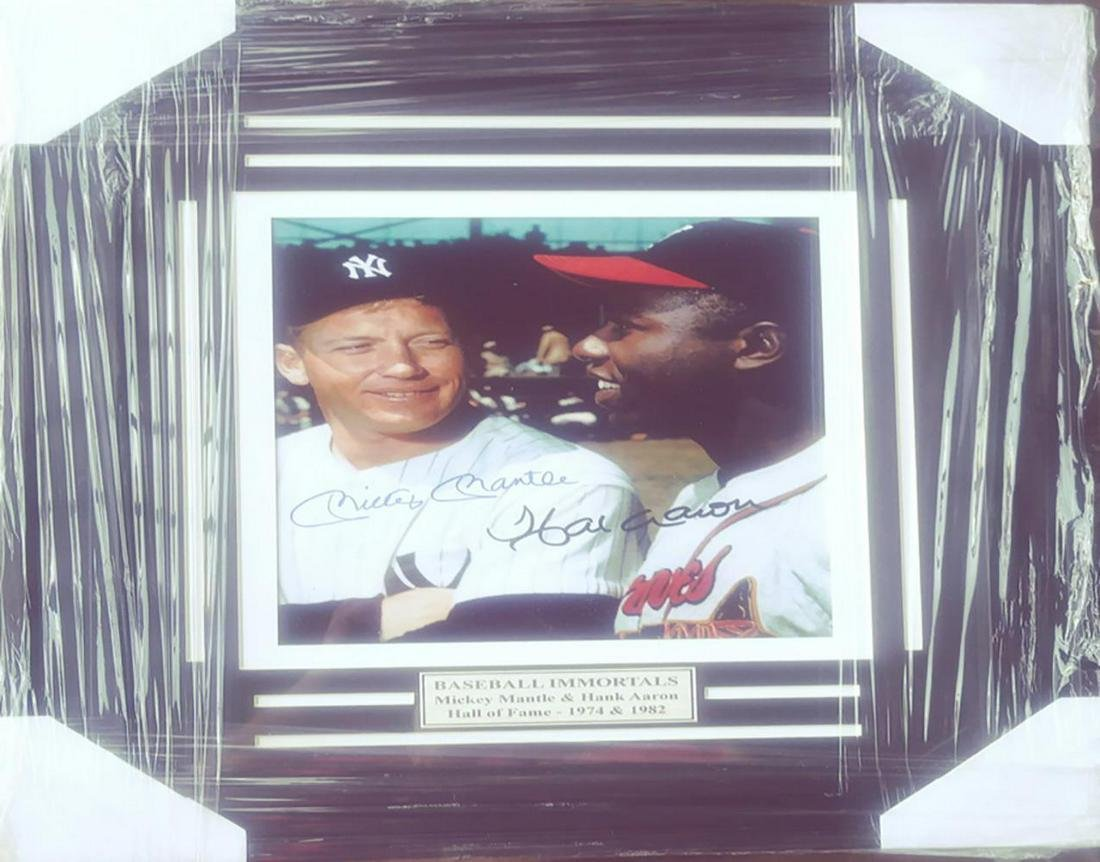 Hank Aaron and Mickey Mantle Double Signed Framed Photo