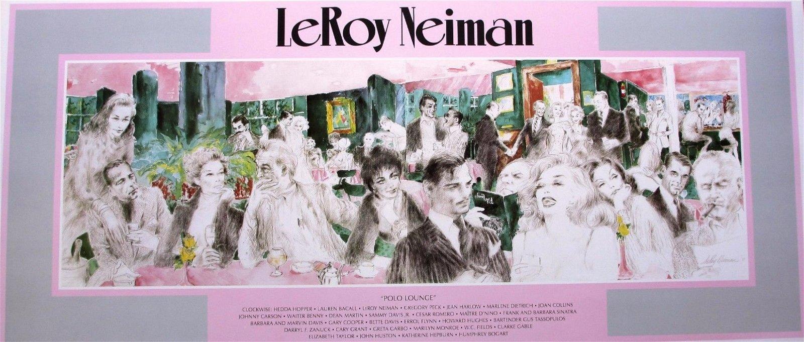 Leroy Neiman Poster Polo Lounge Hollywood Elite Vintage