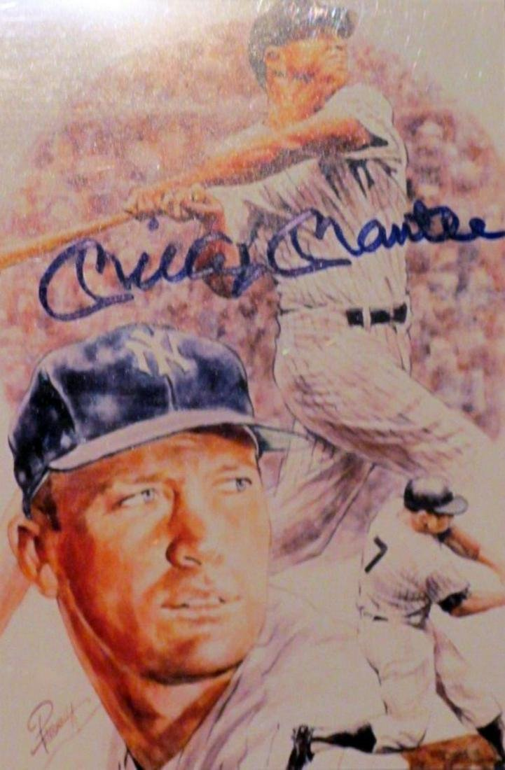 memorabilia Mickey Mantle Signed Photo Litho