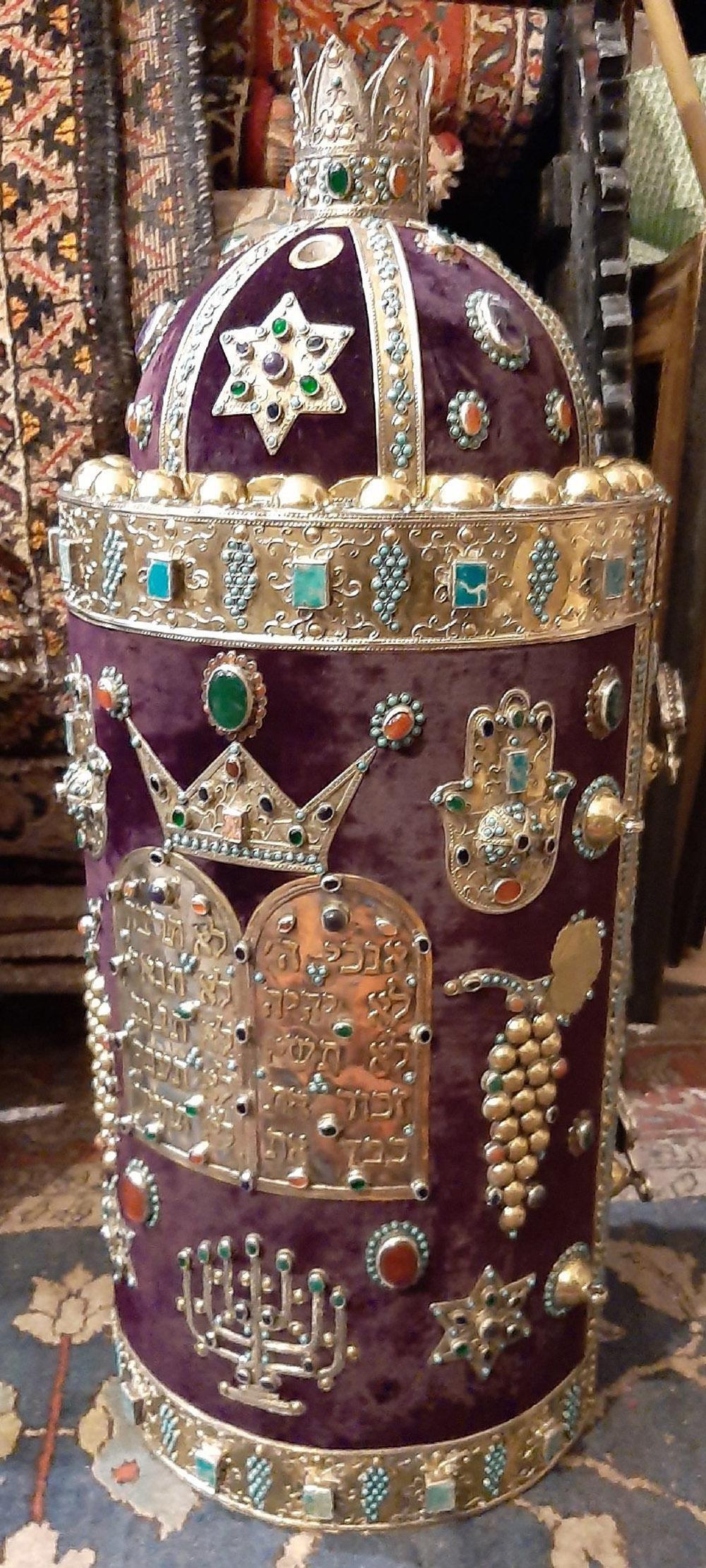 JUDAICA, Silver, agate stones, Perisian Case for Sefer