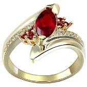 18K Gold Natural Horse Eye Ruby Inlaid Diamond Ring