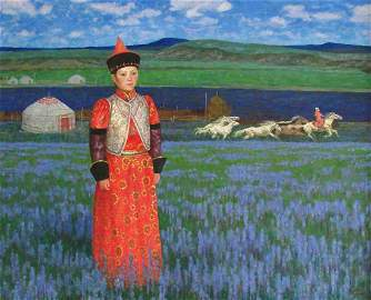 """Guang Tingbo, """"Untitled Man in Red"""" Oil on canvas 1992"""