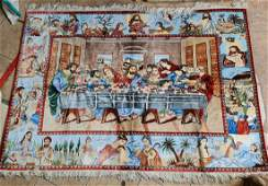 "Persian Qum rug, ""The Last Supper"" 90Raj , 100% silk."