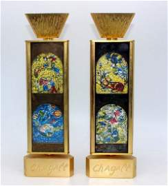 Marc Chagall Two Gold Candlesticks Signed & numbered