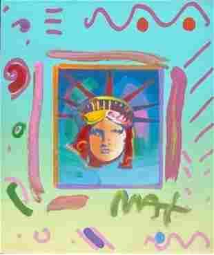 "Peter Max, ""Liberty Head II"" Mixed media on paper,"