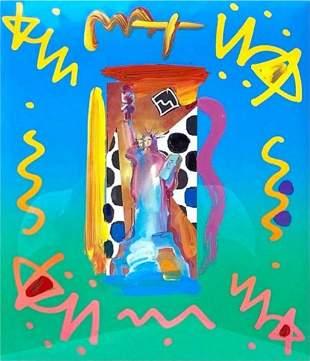 """Petr Max """"Statue of Liberty 20x17"""" Mixed media, Framed"""