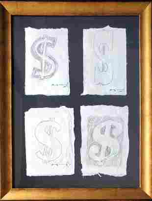 Andy Warhol, Dollar Signs 1985 Drawing W/Authentication