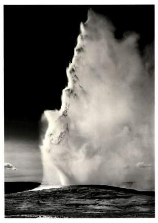 ANSEL ADAMS Old Faithful Geyser Eruption, 1949