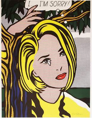 "Roy Lichtenstein Hand signed Poster "" I Im Sorry"