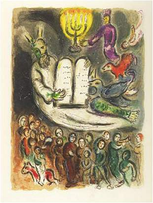 "Marc Chagall ""Exodus- Tablets"" Faxm. signed/numbered li"