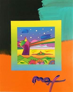 "Peter Max, ""Sages Stars"" Large original mixed media"