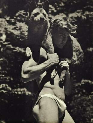 BRUCE WEBER Handsome Male Semi Nude With Dog 1990