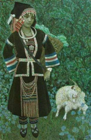 "Guang Tingbo ""Sheep Tending Girl"" T0010 Oil on Canvas,"