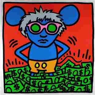 ANDY WARHOL - KEITH HARING, ANDY MOUSE I, SCREEN PRINT