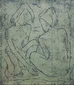 Angel Botello, The Beach, 1951, Linocut Signed Ed.12