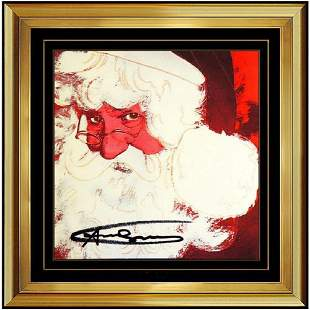 Andy Warhol Hand Signed Color Lithograph, Santa Claus