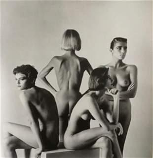 Helmut Newton, Four Nude fashion models sitting, Paris
