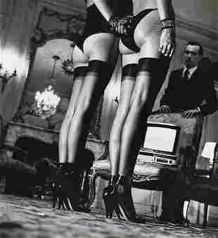 HELMUT NEWTON, Two Pairs Of Legs In Black Stockings,