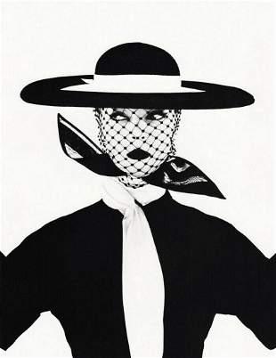 IRVING PENN, Vogue Fashion Woman Black Hat, 1950