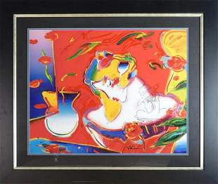 "Peter Max, Mixed Media ""Woman in Love 2000"" 24x30"